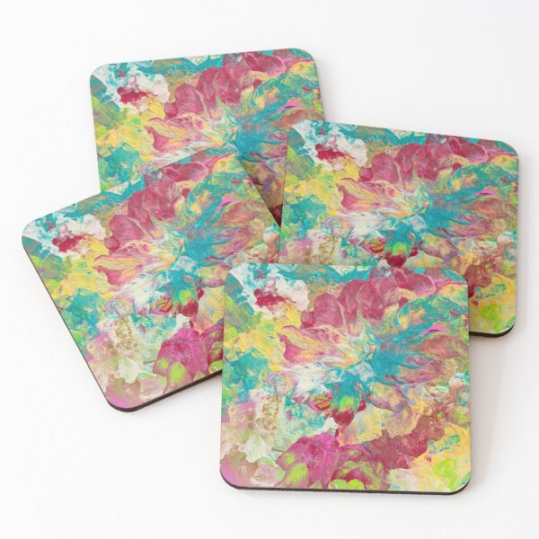 Red flowers Coasters (Set of 4)