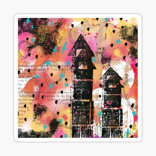 Coral, pink, yellow and black digital abstract whimsical house design Sticker