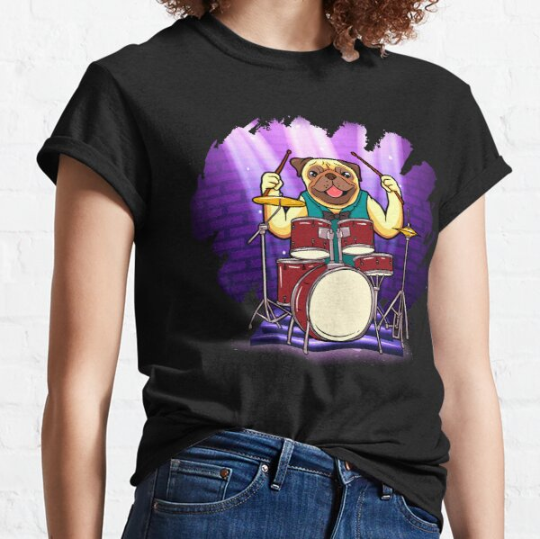 Bulldog Drummer Holding Up Drumsticks Behind His Drum Set Classic T-Shirt