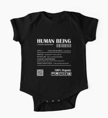 Human Being Shipping Label Kids Clothes