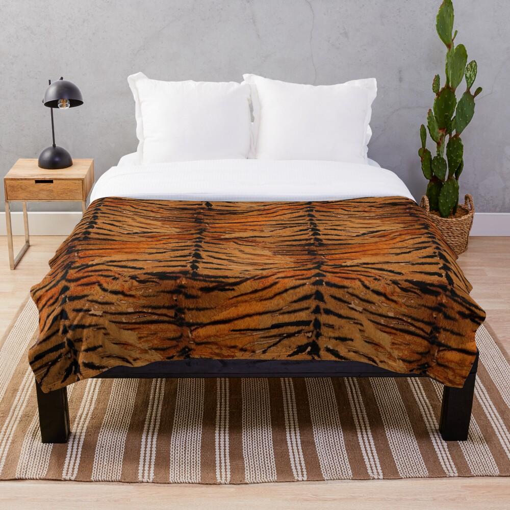 Tiger skin, stylish, tiger, striped, animal print. Throw Blanket