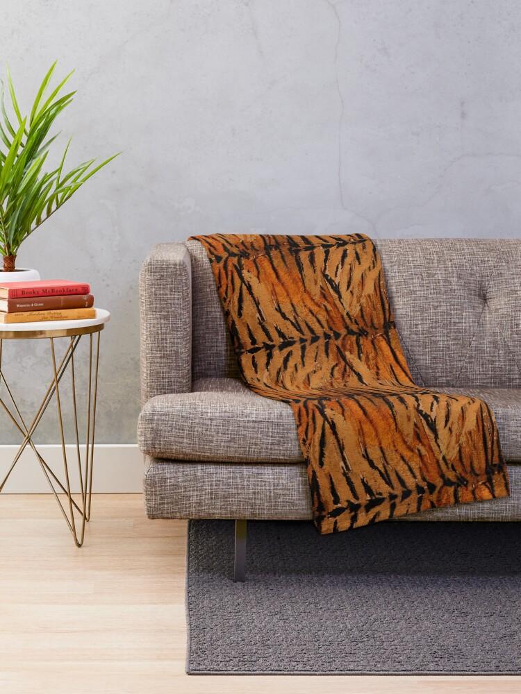Alternate view of Tiger skin, stylish, tiger, striped, animal print. Throw Blanket