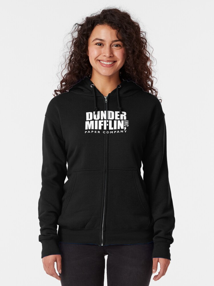 Alternate view of The Dunder Office Mifflin Inc. Design, T-Shirt, tshirt, tee, jersey, poster, Original Funny Gift Idea, Dwight Best Quote From Zipped Hoodie