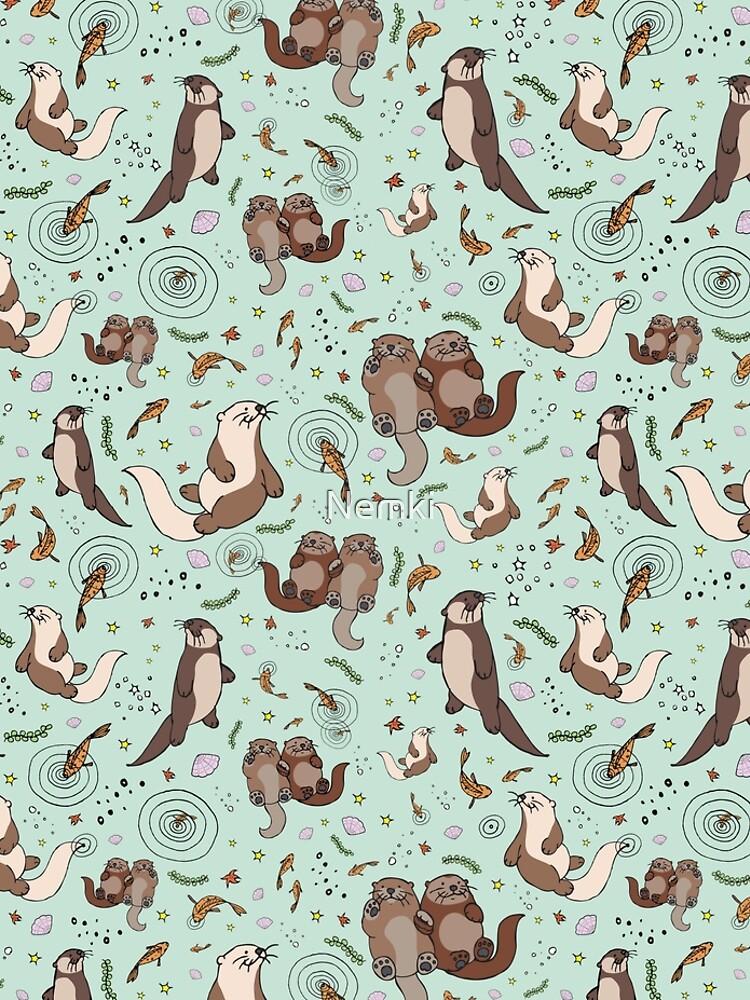 Otters in Blue by Nemki