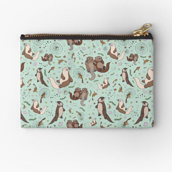 Otters in Blue Zipper Pouch