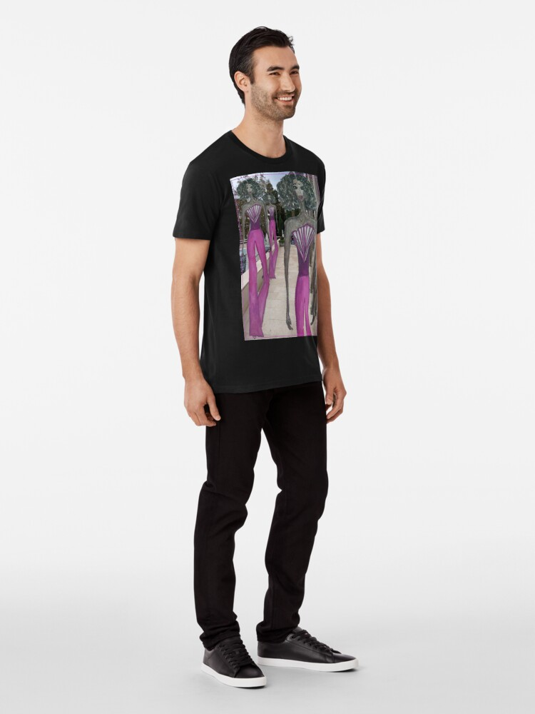 Alternate view of FASHION ART GIRL IN A PINK JUMPSUIT Premium T-Shirt