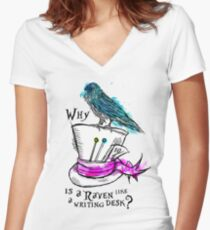 Why is a raven like a writing desk? Women's Fitted V-Neck T-Shirt