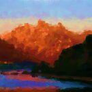 Mountain Lake at Dusk by Malinee Ganahl