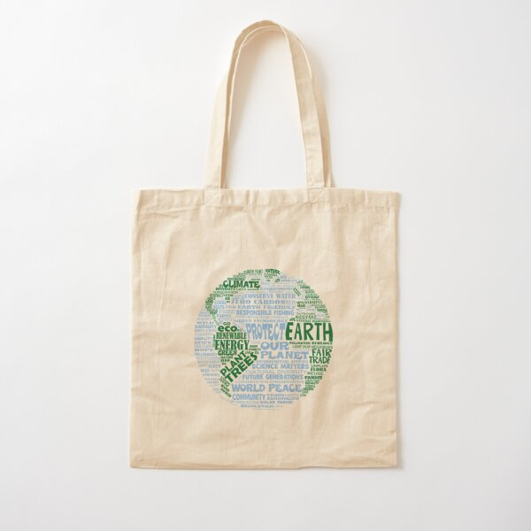 Protect Earth - Blue Green Words for Earth Cotton Tote Bag