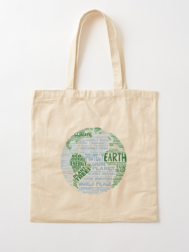 Alternate view of Protect Earth - Blue Green Words for Earth Tote Bag