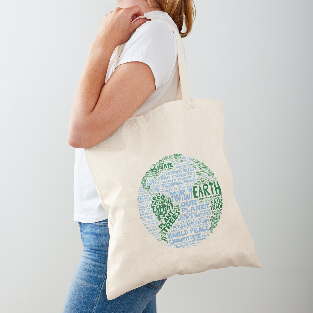 Protect Earth - Blue Green Words for Earth Tote Bag
