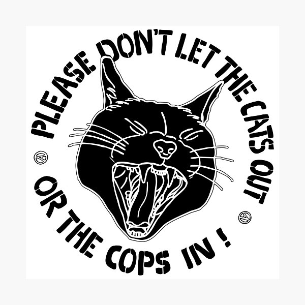 don't let the cats out or the cops in Photographic Print