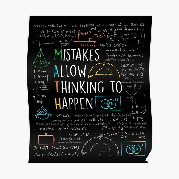 Mistakes Allow Thinking to Happen - Math Teacher Quotes Funny maths Poster