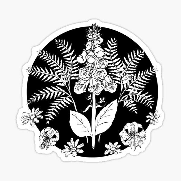 Foxglove ferns | PNW botanical illustration Sticker
