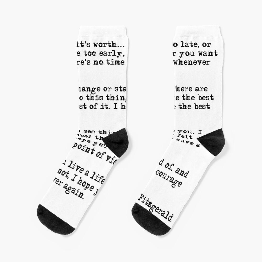 For what it's worth - F Scott Fitzgerald quote Socks