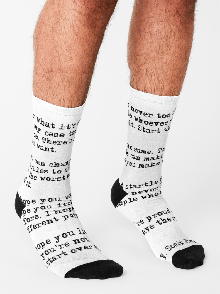 Alternate view of For what it's worth - F Scott Fitzgerald quote Socks