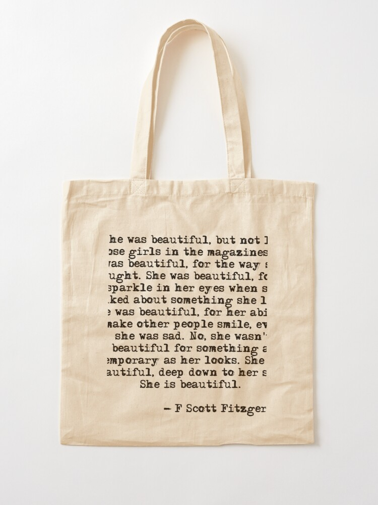 Alternate view of She was beautiful - F Scott Fitzgerald Tote Bag