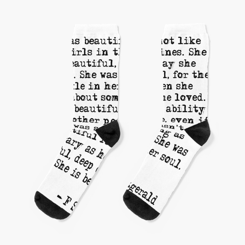 She was beautiful - F Scott Fitzgerald Socks