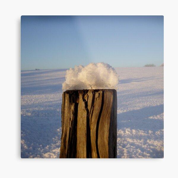 Post With Snow Metal Print