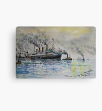 Titanic leaving Belfast. Canvas Print