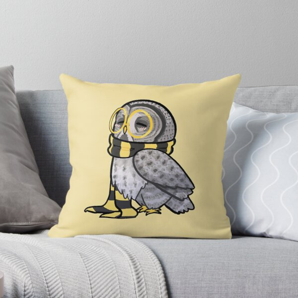Kind Great Grey Owl with Scarf Throw Pillow