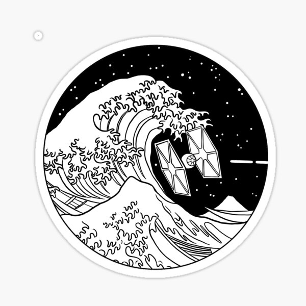 Spaceship in Space - The Great Wave Sticker