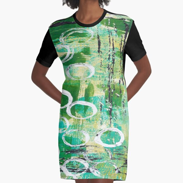ABSTRACT IN GREENS Graphic T-Shirt Dress
