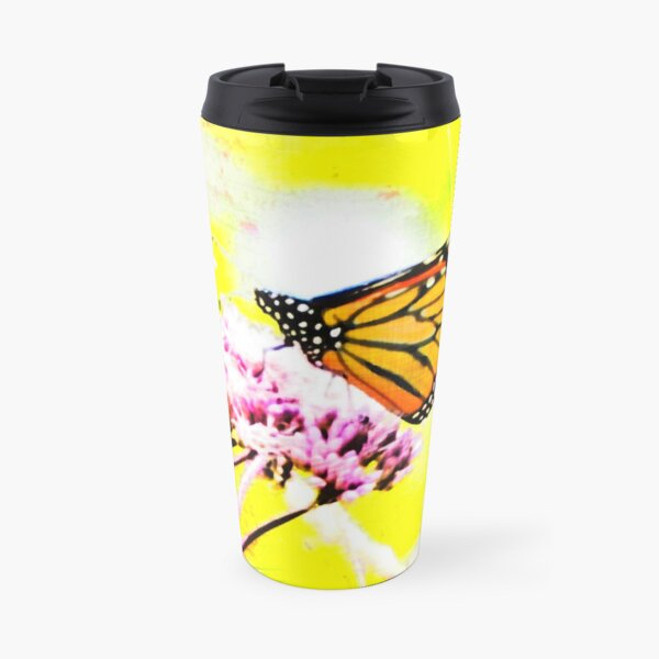 Monarch on Pink and Yellow Travel Mug