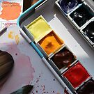 Watercolor pallette  and paintbrush by DanielaFurini