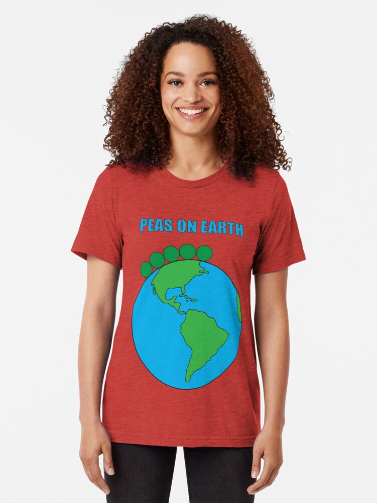 Alternate view of Peas On Earth Tri-blend T-Shirt