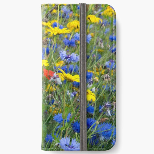 Blue Cornflowers and Yellow Daisies iPhone Wallet