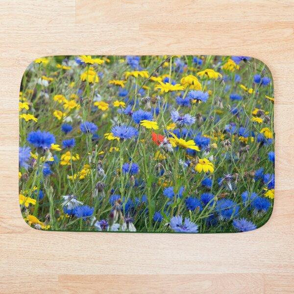 Blue Cornflowers and Yellow Daisies Bath Mat