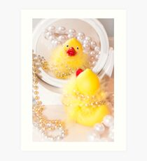 """Looking Ducky"" - rubber ducky dresses up Art Print"
