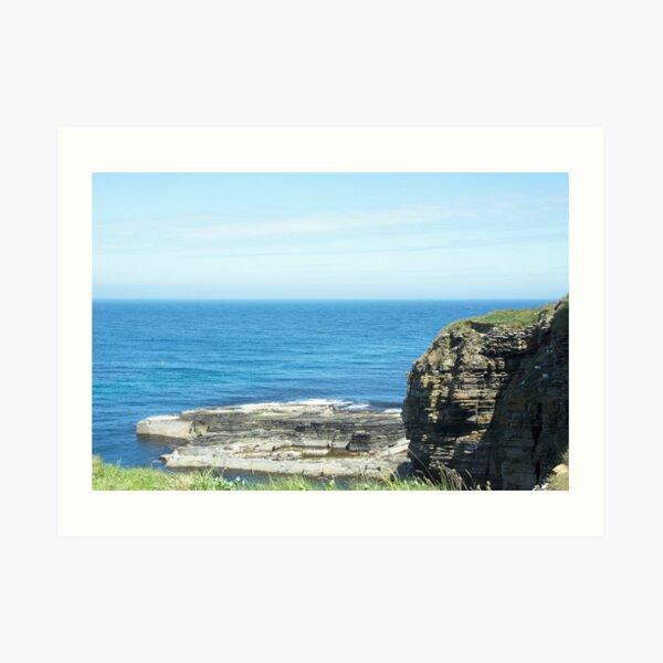 Rocks and raised ledge in sea Art Print