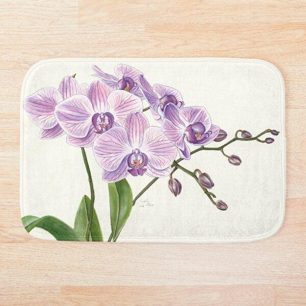 Purple Phalaenopsis Orchid traditional illustration Bath Mat