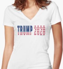 Trump 2020 Flag Fitted V-Neck T-Shirt