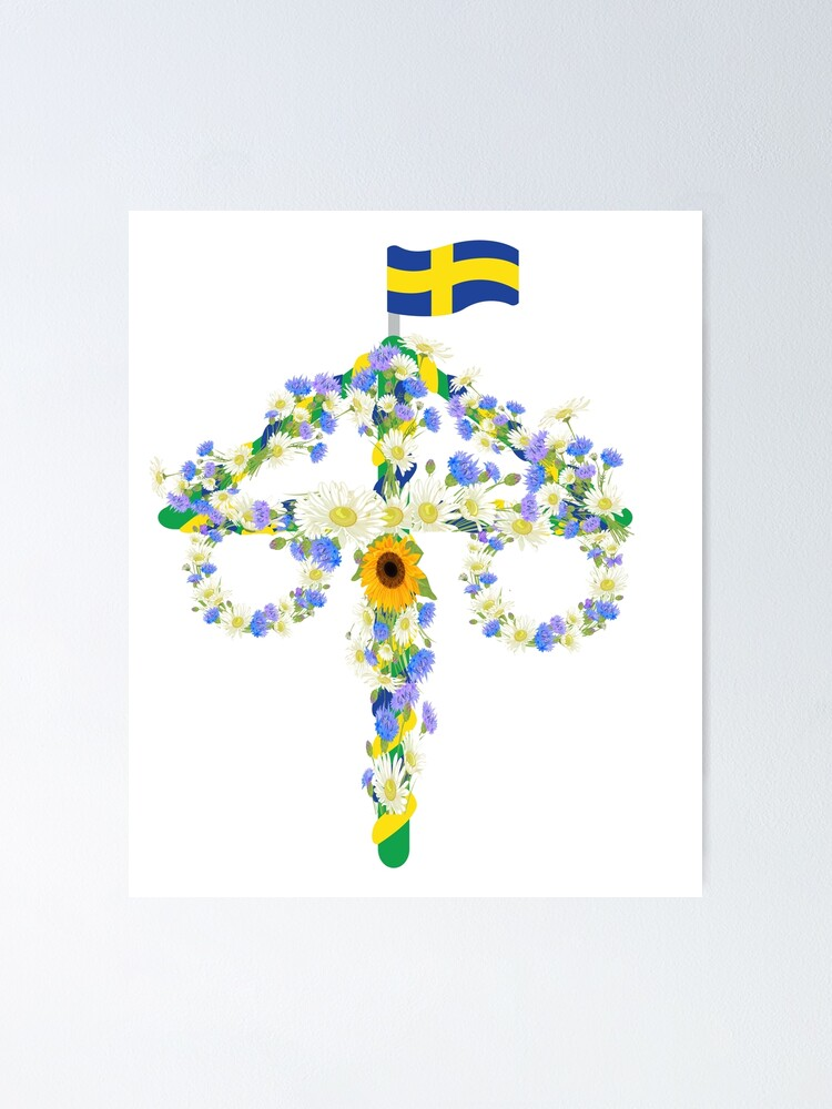 Midsommar Midsummer Flowers Floral Pole Festival Flag Poster By