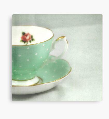 Apple green teacup Canvas Print