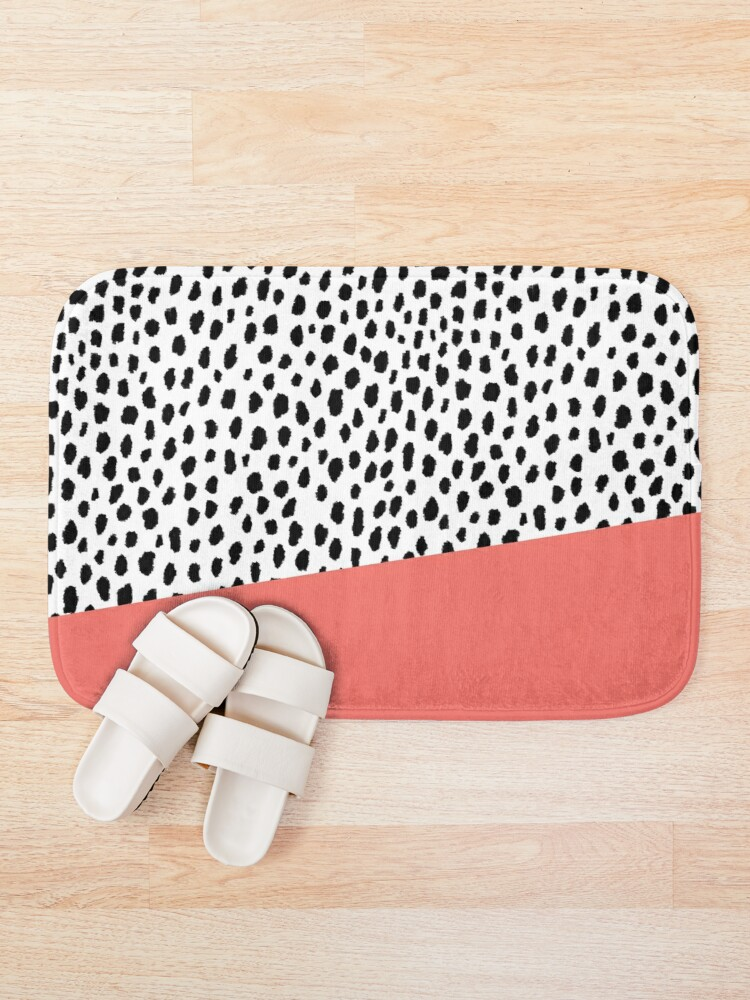 Alternate view of Dalmation Spots with Coral Stripe (Pantone Living Coral) Bath Mat
