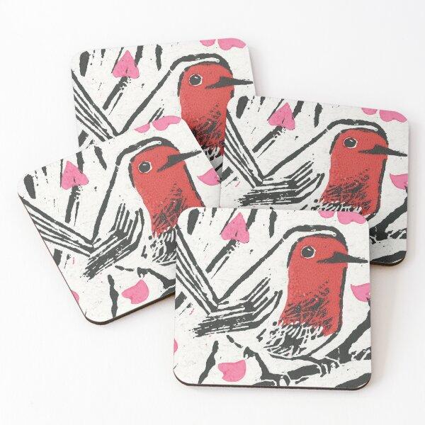 European robin, red throat bird Coasters (Set of 4)