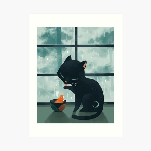 Cat and the rain Art Print