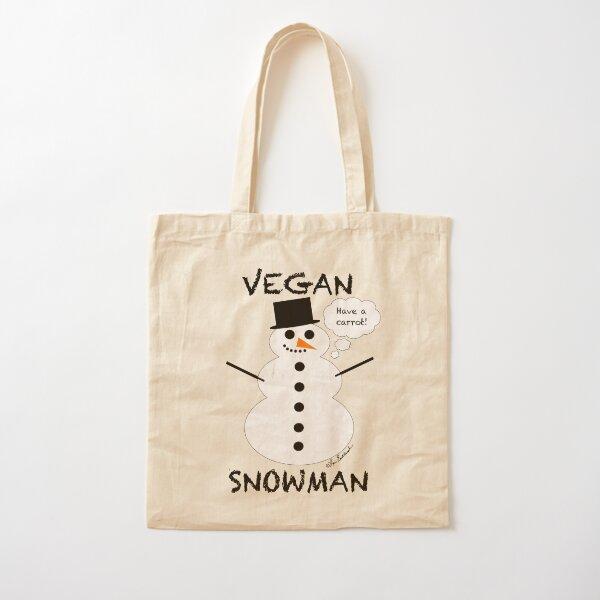 Vegan Snowman Cotton Tote Bag