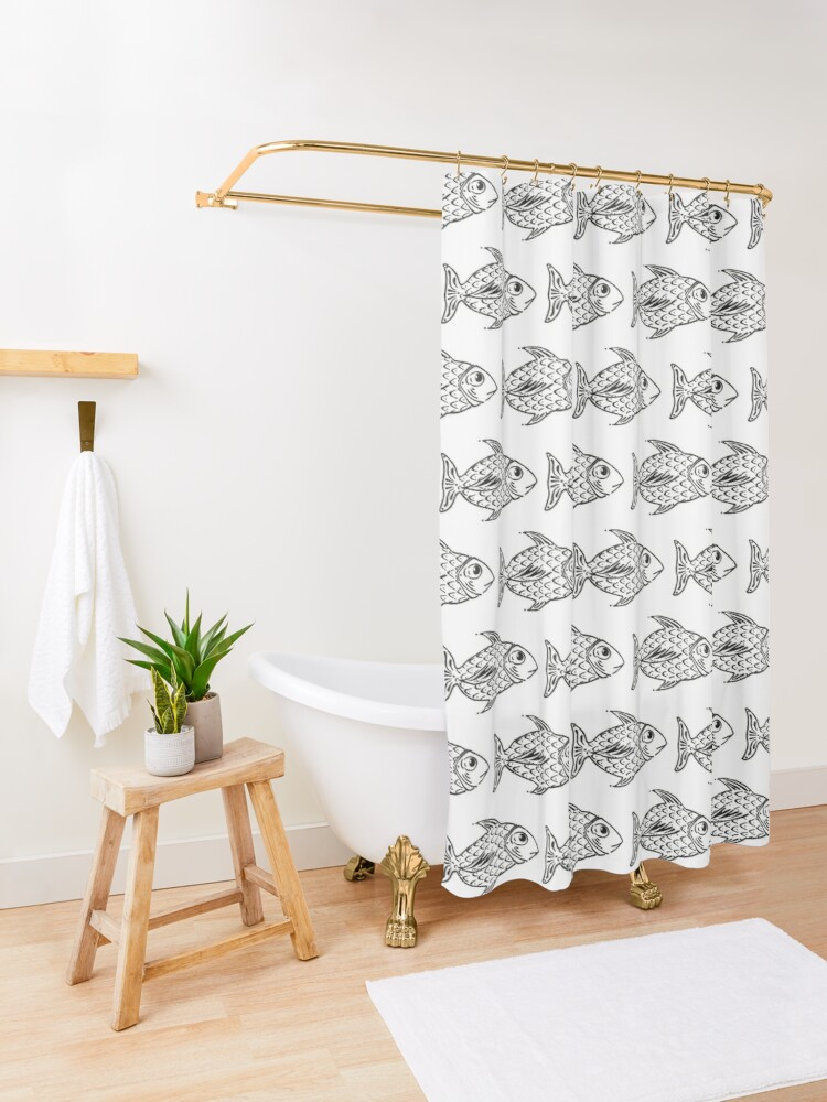 Alternate view of A Fish Named Cicio Shower Curtain