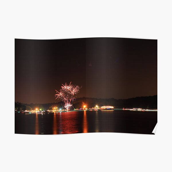 Fireworks Over Water Poster