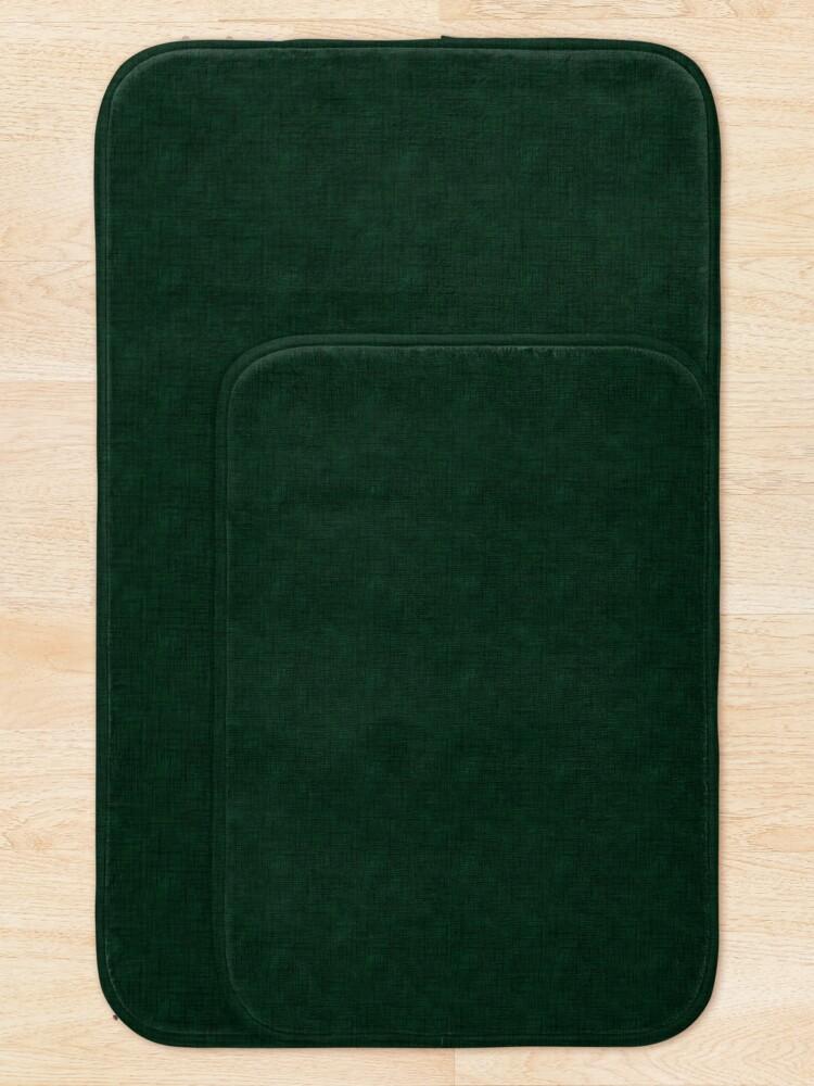 Alternate view of Textured dark green, solid green Bath Mat