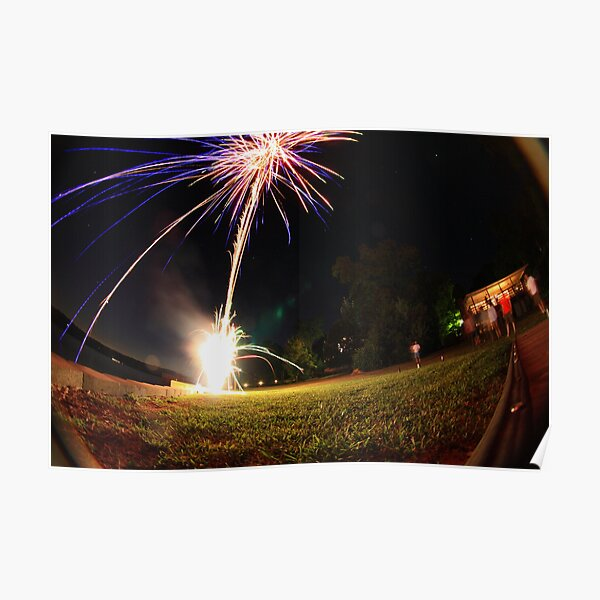 Fireworks At The Lake Poster
