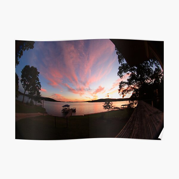Lake House Sunset Poster