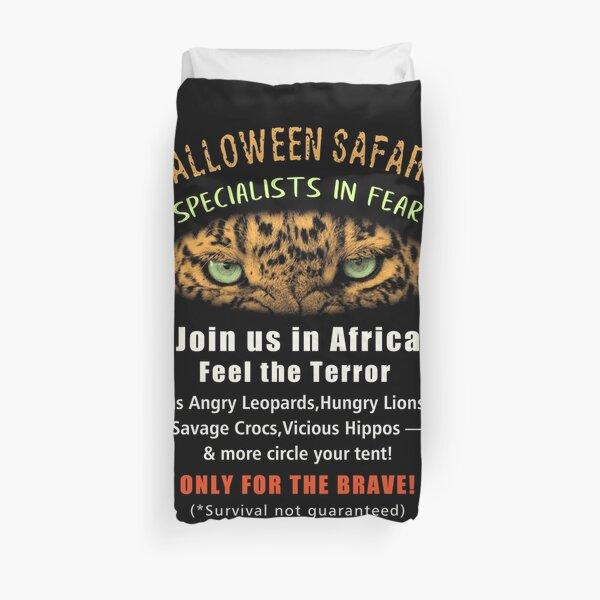 Halloween Safaris Crazy Poster for Fake Africa Safari Company Duvet Cover