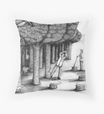 Cutting Down the Forest to Build the Ark Throw Pillow