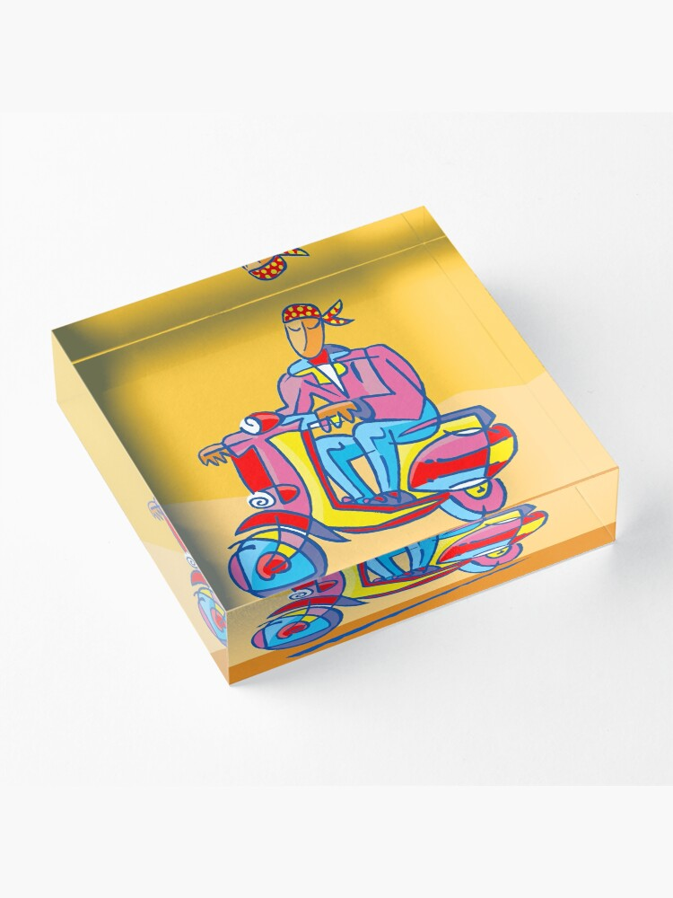 Alternate view of YELLOW SCOOTER by Tim Davies Acrylic Block